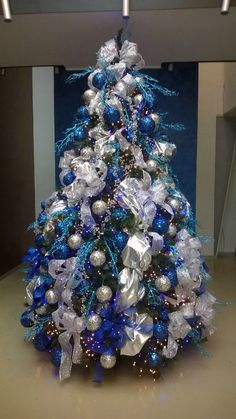 silver blue tree blue christmas trees silver christmas decorations black christmas modern christmas - Blue And Silver Christmas Tree