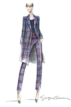 May 13 -  A sketch from the Spring Tartan capsule collection by Giorgio Armani. Using a colour palette of grey, red and royal blue, the collection features trousers, tailored jackets, coats, tops, skirts and bags and is available in boutiques later this month.