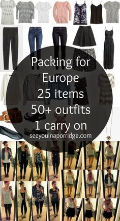 (practice) packing for Europe: 25 items = 50 outfits Europe Travel Outfits, Packing For Europe, Travel Outfit Summer, Backpacking Europe, Travel Wardrobe, Vacation Outfits, Packing Tips For Travel, Summer Travel, Capsule Wardrobe