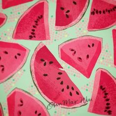 Still crazy about watermelon in our house #foodillustration #watermelon…
