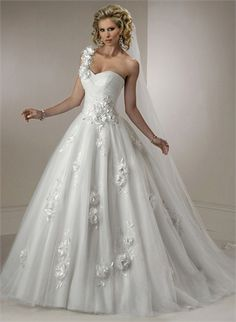 A-line One-shoulder With Hand Made Flowers Organza Wedding Dress WD1759 www.tidedresses.co.uk $339.0000