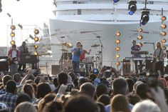 The three-time GRAMMY Award-winning band Maroon 5 performs set to the backdrop of Carnival Cruise Lines' newest ship, Carnival Magic, as part of the vessel's arrival celebration in Galveston, Texas on Sunday, November 13, 2011. Approximately 4,000 fans joined Carnival's Texas-sized celebration for the U.S. debut of its latest Fun Ship. Photo taken by newscast for Carnival. (Jim Sulley/newscast)