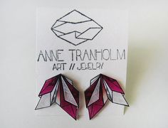 RED PINK GEOMETRIC earrings // unique hand-drawn shrink plastic stud earrings, jewelry, jewellery, one of a kind, art jewelry