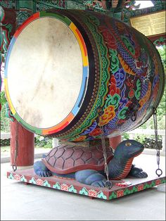 Huge Korean temple drum used to announce festivals and ceremonies