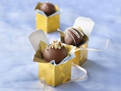 Easy chocolate truffles. One change, chocolate chips rarely melt easily in a sauce pan on direct heat. Make a double boiler by putting a 4-cup Pyrex glass measure or small pan over another pan filled with an inch of water. cook over low-med heat sitring chips until melted through.