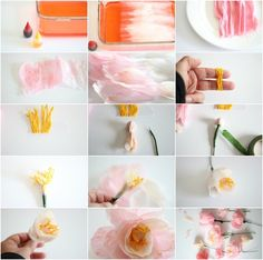 We've rounded up our 20 Favorite DIY Paper Flower Tutorials for spring. From poppies to peonies to giant modern daisies, we've got you covered. Fake Flowers, Diy Flowers, Fabric Flowers, Crepe Paper Flowers Tutorial, Tissue Paper Flowers, Diy Paper, Paper Crafts, Paper Peonies, Paper Bouquet