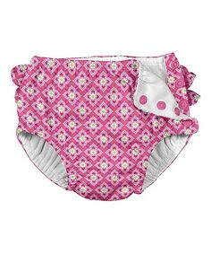 Pink Diamond Ruffle Reusable Swim Diaper - Infant & Toddler