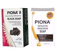 Piona Skincare Kit Includes Piona Exfoliating and Brightening Soap 7 Oz and Piona II Deep Cleansing  Moisturizing Black Soap 635 Oz -- See this great product.