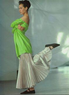 """The Enlightened Holiday Wardrobe"", Vogue US, July 1986  Photographer: Arthur Elgort  Model: Christy Turlington"