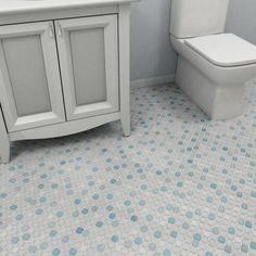 SomerTile 11.75x11.75-inch Scholar Blue Porcelain Mosaic Floor and Wall Tile (Case of 10)- kids' bathroom?