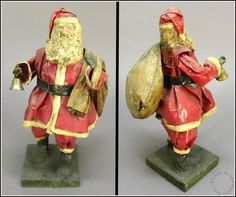 Antique Vintage Hand Crafted Folk Art Paper Mache Santa Claus Figurine with Bell