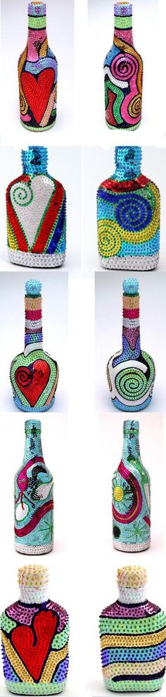Summer bottle decorating ideas to make by yourself. Wine Bottle Art, Glass Bottle Crafts, Painted Wine Bottles, Diy Bottle, Bottles And Jars, Glass Bottles, Mosaic Bottles, 3d Art, Altered Bottles