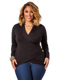 fe013113dfd8e Surplice Top Side Button Sweater - Ashley Stewart