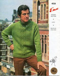 """mens sweater knitting pattern pdf DK 4ply mens polo neck jumper vintage 1960s 36-46"""" DK light worsted 8ply 4ply sport pdf instant download by Hobohooks on Etsy"""
