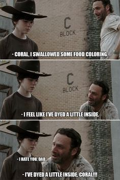 The Walking Dead Memes that live on after the characters and season ended. Memes are the REAL zombies of the show. Walking Dad Jokes, The Walking Dad, Walking Dead Funny, Twd Memes, Funny Memes, Hilarious, Funny Quotes, Walking Dead Coral, Rick And Carl