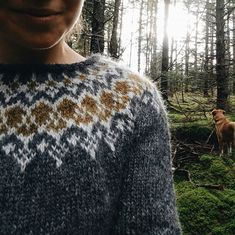 New Olwyn sweater knit by Meaghan to go up in the shop in the new year! We took some knits out to the woods to photograph before the snow… Fair Isle Knitting Patterns, Knitting Designs, Knitting Projects, Crochet Patterns, Knitting Videos, Hand Knitting, Icelandic Sweaters, Sweater Design, Digital Pattern