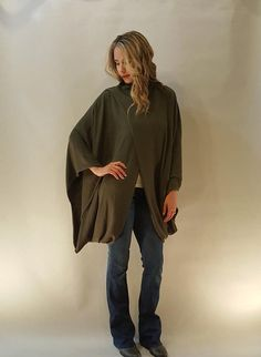 Super Cute Oversize Olive Asymmetric Front Detailed 3/4 Sleeve Poncho . This chic and modern, oversize poncho is the perfect addition to any casual or dressy outfit! It's loose and flows design provides comfort and style.    65% Cotton 35% Polyester   US Size S (4-8) M(10-12) L(14-16)  Model 5'7 Tall and wearing size S    Ships within 1-2 Business Days  Color as is picture | Shop this product here: spree.to/bf52 | Shop all of our products at http://spreesy.com/jessycat    | Pinterest selling…