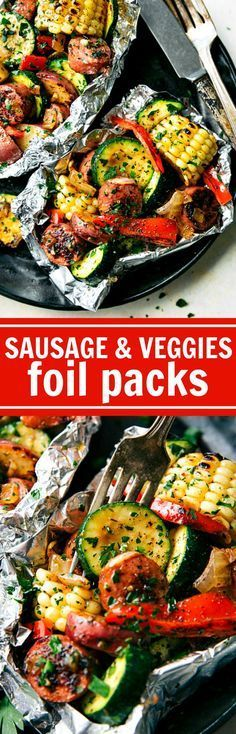 These delicious and easy tin foil packets are so quick to assemble! They are packed with sausage, tons of veggies, and the best seasoning mix. This easy tin foil sausage and veggies dinner is sure to be a family favorite this summer! Pork Recipes, Cooking Recipes, Healthy Recipes, Healthy Sausage Recipes, Mixed Veggie Recipes, Easy Grill Recipes, Sausage Dinner Recipes, Vegan Sausage Recipe, Low Carb Summer Recipes