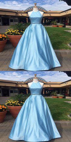 A-Line Halter Sky Blue Satin Sleeveless Long Prom Dresses Navy Blue Prom Dresses, Cheap Homecoming Dresses, Blue Evening Dresses, A Line Prom Dresses, Prom Party Dresses, Trendy Dresses, Dress Prom, Dress Long, Formal Dresses