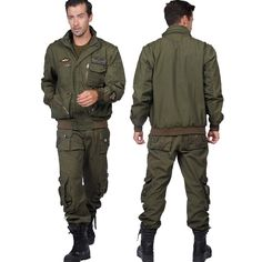 149.99$  Watch more here - http://ai4x0.worlditems.win/all/product.php?id=32476516973 - Military style field army suit for men 101st airborne division removable sleeves Camping jacket and pant Sets with belt