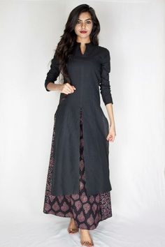 doesn't this look ethnic and elegant ... Long split tunic over ankle-length dress or skirt More More