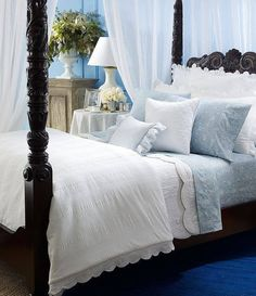 Light blue and lots of white could be really relaxing and pretty.