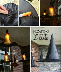 Floating Witch Hat Luminarias for Halloween Fun Halloween Porch Decorationing ideas, floating witch hat luminaires. Make light-up witch hats for your front porch. Spooky Halloween, Porche Halloween, Halloween Veranda, Dollar Store Halloween, Fete Halloween, Halloween Porch, Halloween Home Decor, Diy Halloween Decorations, Holidays Halloween