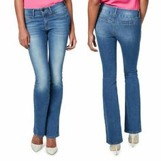 """Bootylifter boot cut jeans in night blue. Slimming and slightly lifting jeans are designed to make your rear appear toned. Ultra flattering silhouette with wider leg opening.  Details: inseam 33"""", front rise """", back rise """", waist measured as a belt """", length along the back of the waist """", leg opening """", 75% cotton, 23 polyester, 2% elastane.  . JF Jeans Flare & Wide Leg"""