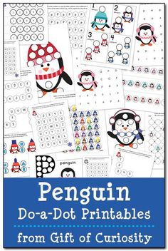 Free Penguin Do-a-Dot Printables: 17 pages of penguin do-a-dot worksheets for kids ages 2-6. Lots of great skills practice and a fun resource for kids learning about penguins. || Gift of Curiosity