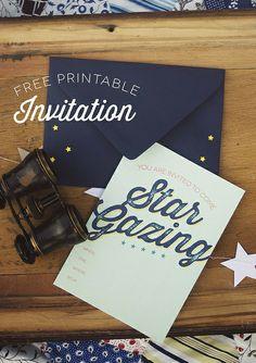 free printable Star Gazing Party invitations