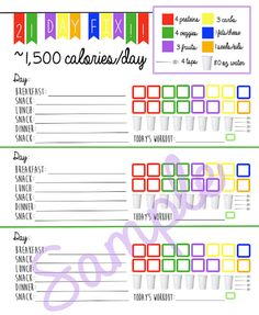 Easy to Use 21 Day Fix Logging System Tracking Sheet!    Beach Body 1,500 Calorie Bracket Easy to Use 21 Day Fix Planner Meal Planning and