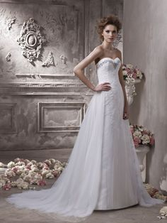 A-line Sweetheart Lace Applique Bodice Tulle Train Wedding Dress-wa0044, $289.95