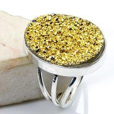 Golden Titanium Druzy & .925 Sterling Silver Ring Size 5.5 , W849