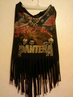 Pantera Concert Tee turned into a Fringed T Tank Dress