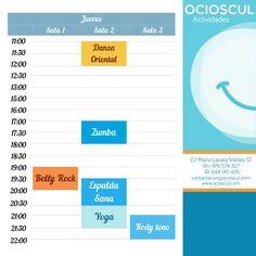 Actividades de hoy jueves: #DanzaOriental #Zumba #EspaldaSana #BellyRock #Yoga #BodyTono ocioscul.com