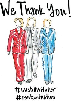 Hillary Clinton Thank You Card / Pantsuit Nation by PolishTheStone