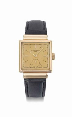 Patek Philippe. A fine and rare 18K pink gold square wristwatch with hooded lugs, sliding sides and pink dial. Manufactured in 1941 #ChristiesWatches