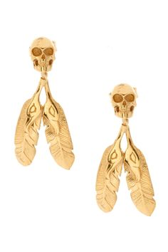 skull and feather drop earrings