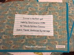 Just wanted to share the quilt I made for my sweet sister-in-law for Christmas. The wonderful pattern is Summer in the Park by Missouri St...