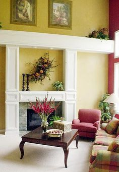 from an article about how to decorate plant ledges -- I love the colors in this room!