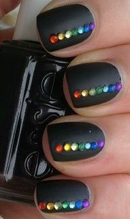 Black Matte Nails with Rainbow Crystals