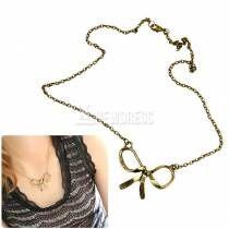 2014 New Fashion Women's Retro Vintage Bowknot Bow Pendant Chain Necklace