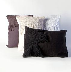Black French Crochet Sham Pair - June, Private Collection