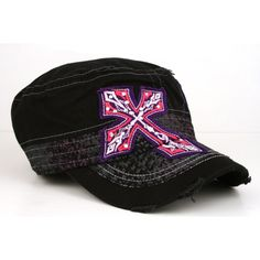 Black Pink/Purple CROSS PATCH Rhinestone Cadet Cap        Large crystal rhinestone embroidered cross over cap and bill  Stitching on cap  Distressed cadet hat  Elastic back