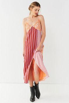 UO Ava High-Slit Midi Slip Dress