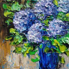 Image detail for -Beata Sasik's Art Blog: HYDRANGEA PAINTING ORIGINAL PALETTE KNIFE OIL