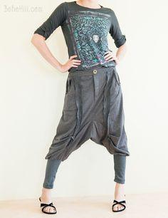 Tomboy Neoclassic Harem Drop Crotch Slim Leg Double Stripe Unisex Pants (Granite Gray)