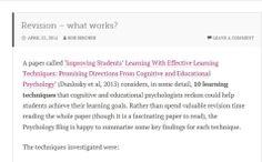 Rob Bircher explores different revision techniques Revision Techniques, Learning Techniques, Educational Psychologist, Exam Revision, Effective Learning, Learning Goals, What Works, Psychology, Reading