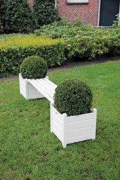 Wooden Garden Bench with Planters in Cream by Fallen Fruits Planter Bench, Planter Boxes, Pallet Planter Box, Planter Garden, Wooden Planters, Wooden Garden, Fallen Fruits, Modern Fire Pit, Concrete Fire Pits
