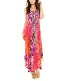 Look what I found on #zulily! Fuchsia Tie-Dye Momo Maxi Dress - Women by Sol Clothing #zulilyfinds